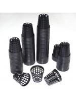 """Plastic Net Pots 5cm / 2"""" Black Small Plant Pot - 25 Pots - Hydroponics Aquatics Orchids"""